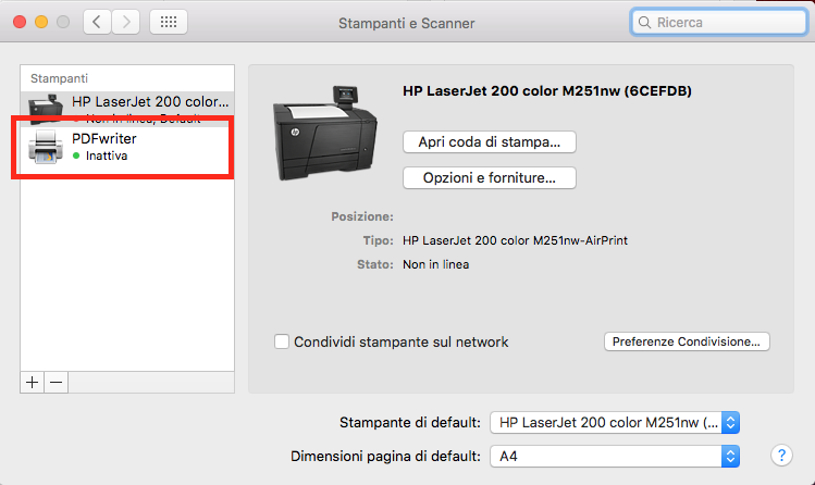 stampante virtuale mac